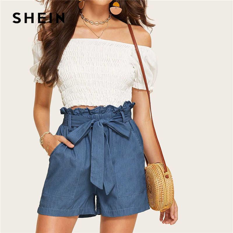 SHEIN Casual Blue Paperbag Waist Twin Pocket Patched Belted Denim Shorts Women Summer 2019 High Waist Wide Leg Solid Shorts