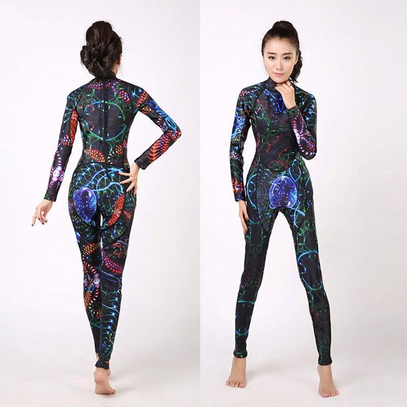 Women's Full Wetsuit 3mm Premium Neoprene Wet Suit XS S M L XL XXL Starry Starlit Sky Printed Full Body Long Sleeve Wetsutis женское платье other 2015 o vestidos s m l xl xxl