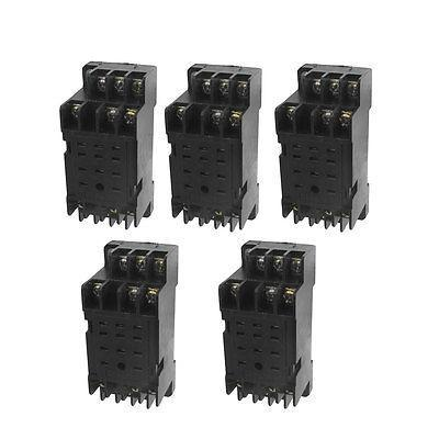DYF-11A 11 Pin Power Relay Base Socket DIN Rail Mount 5 Pcs din rail mount 4pdt 14 pin general purpose relay ac220v coil w socket