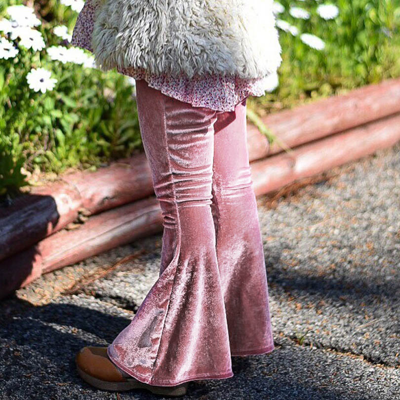 Pants Elastic Waist Children Kids Flare Pants Baby Girl Solid Infant Kids Casual Trousers Velvet Bobo Bebe Stage Cute Photo ethnic style elastic waist tribal print girl s pants
