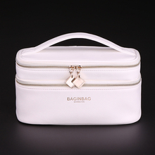 bagINBAG Travel Cosmetic Bag Women Makeup Organizer Evening Bag Double Layer PU Leather Make Up Case Cosmetics Toiletry Pouch