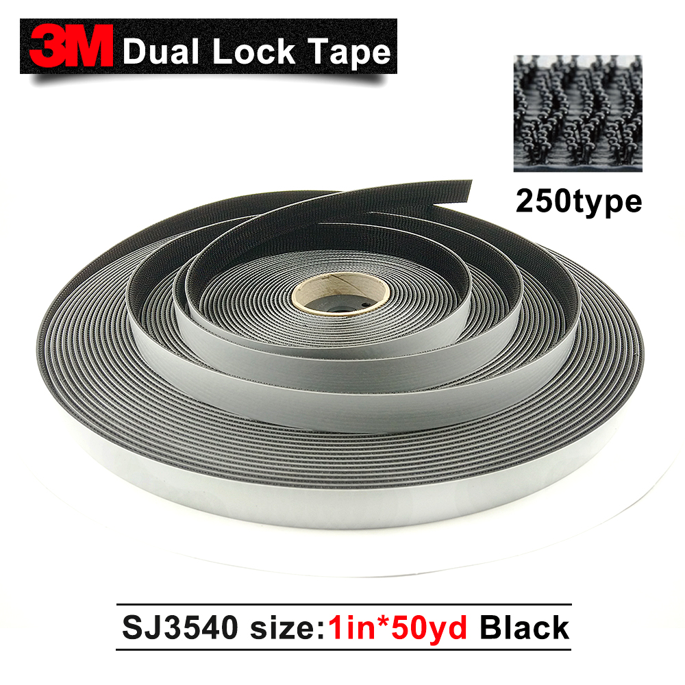 3M tape SJ3540 Dual Lock Reclosable Fasteners tape black color 1*50yards*2rolls/carton double sided tape self adhesive tape 3m adhesive tape bicycle helmet mount for 1 4 camera black