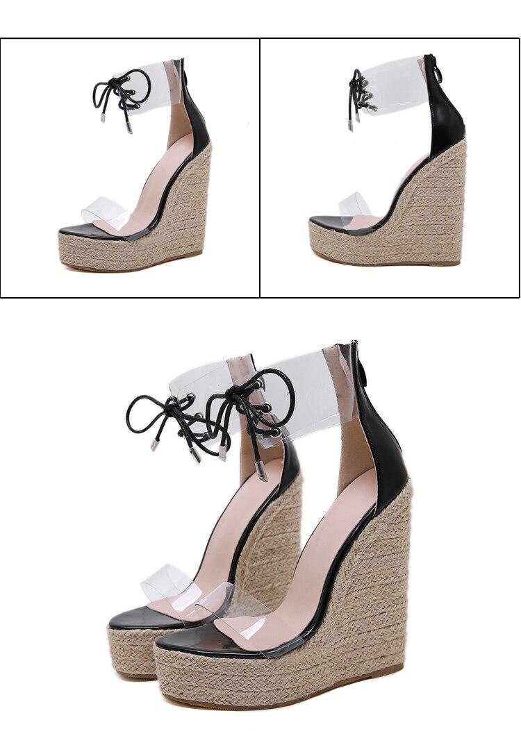 HTB1HRzRcwaH3KVjSZFjq6AFWpXaD Aneikeh Fashion PVC Sandal Women Transparent Sandals Lace-Up Wedges High Heels Black Gold Party Daily Pumps Shoes Size 35-40