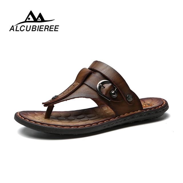 3562f6348e8b4 2018 New Sandals Men Leather Casual Shoes Slipper Summer Beach Male Shoes  Flats Roman Sandals Flip Flops Men Shoes Footwear