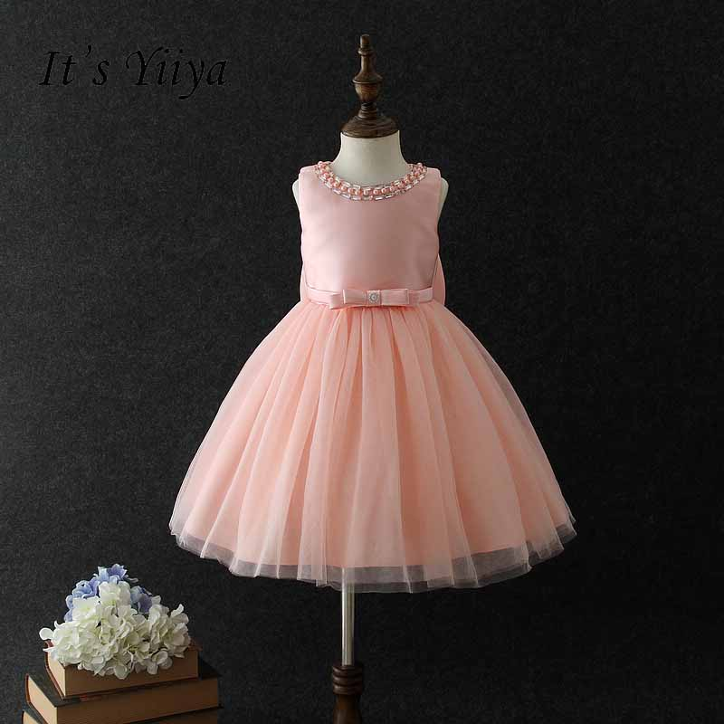 It's yiiya New Many Color Zipper   Flower     Girl     Dress   Kid Child Cloth Bow Beading Pearl Ball Gown For Party Wedding   Girl     Dress   S253