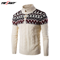 Top Grade Autumn Winter Fashion Men Knitted Sweater Christmas snowflakes Stand Collar With Slim Fit Pullover Sweaters For Men