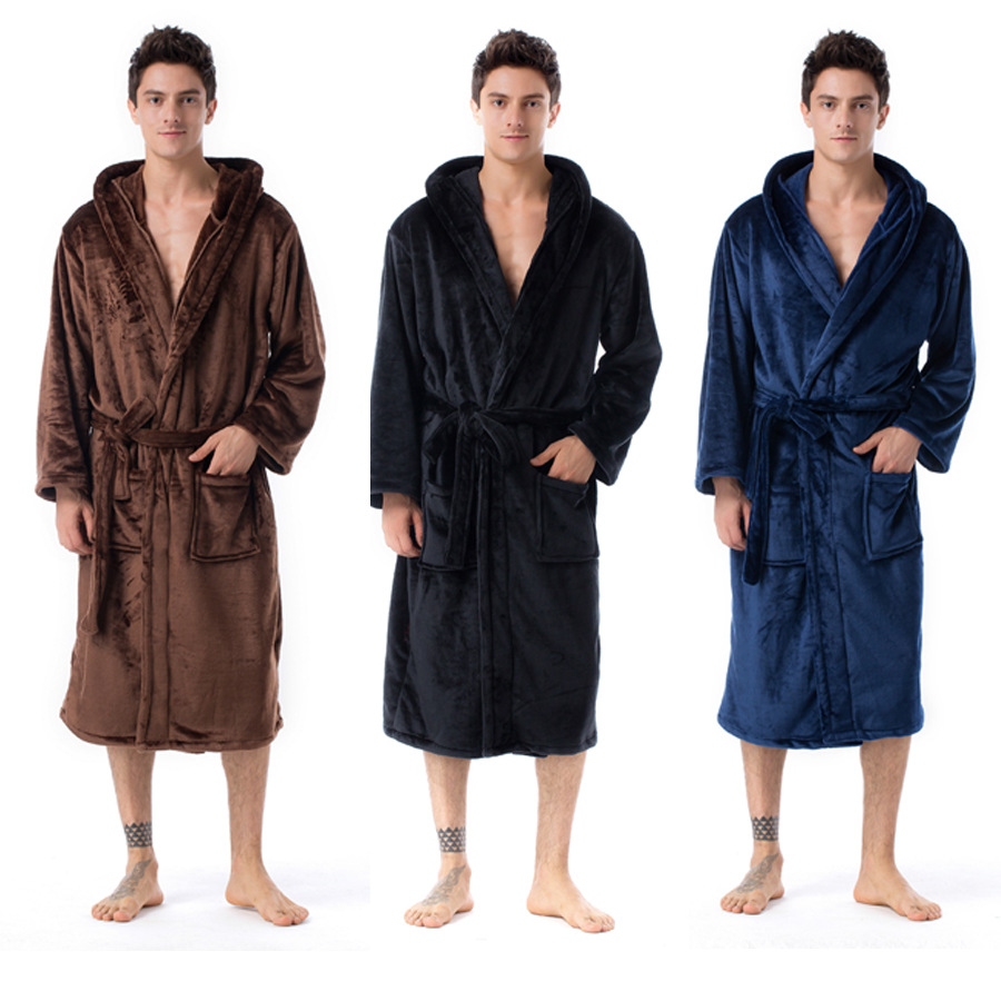 Autumn And Winter Couples Morning Gowns Thick Long Section  Flannel Bathrobes Pajamas Men Kimono  Mens Robes Long
