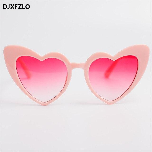 28628ce519 DJXFZLO 2018 nuevo amor corazón gato ojo gafas De Sol mujer marca diseñador  moda rojo degradado