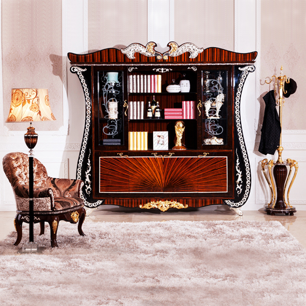 European Style Wooden Office Desk Bookcase Imperial Luxury ...