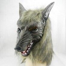 Нью-волк маска жуткий хеллоуин костюм меховой мане латекс реалистичная ужас дьявола маски маскарад реквизит косплей
