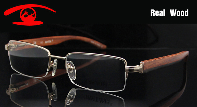 43fbab3100 Naturally Wooden Eyeglasses Frames Men Half Frame Wood Glasses Frame Rx Prescription  Eyewear Accessories