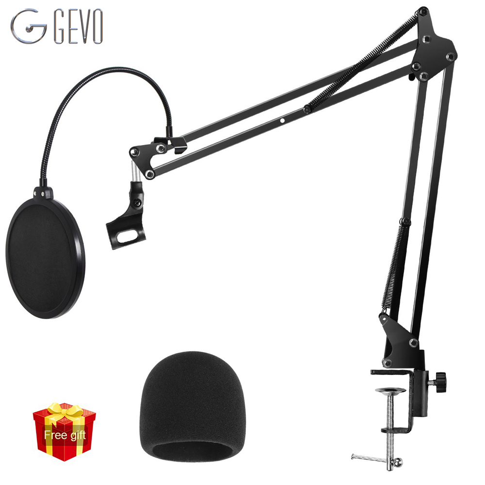 GEVO NB-35 Microphone Holder Suspension Arm Adjustable Stand Metal Boom Scissor Arm And Dual Layered Mic Pop Filter For BM 800 adjustable height microphone stand dual mic clip round metal weighted base boom arm tripod for recording and podcasting