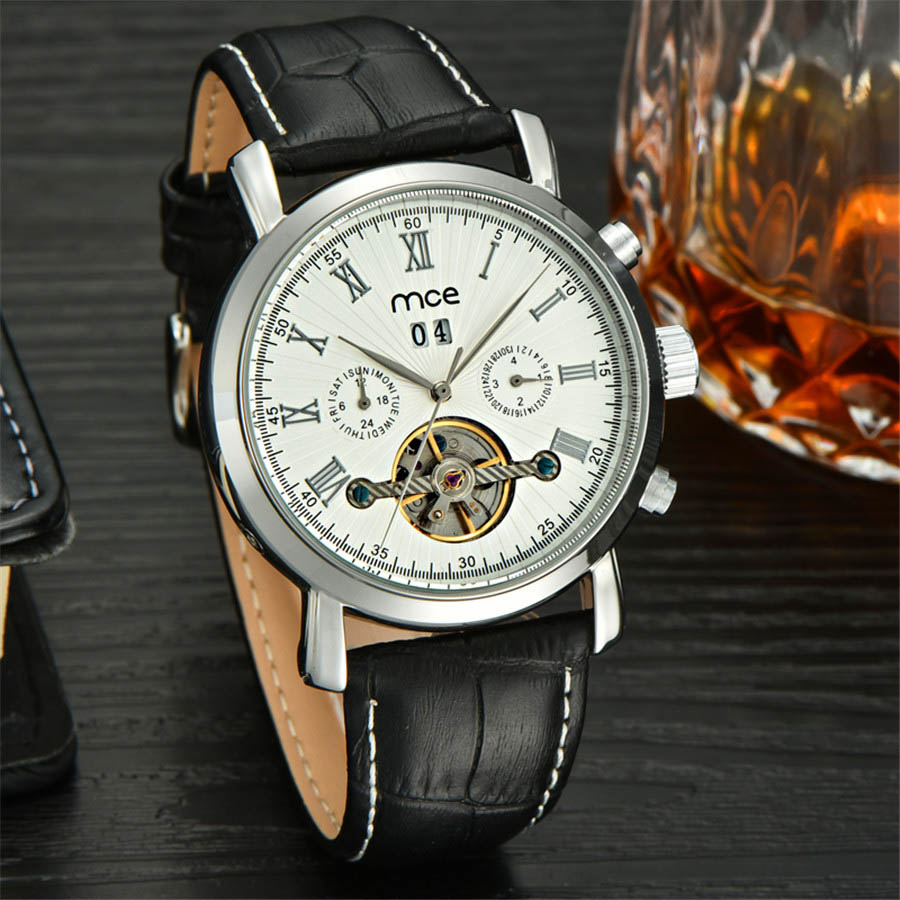 MCE Famous Brand Watch 2017 New Luxury Men Automatic Watches Silver Case White Dial Leather Strap Fashion Tourbillon Watch mce brand men self wind waterproof leather strap automatic mechanical male black white dial fashion tourbillon watch men clock