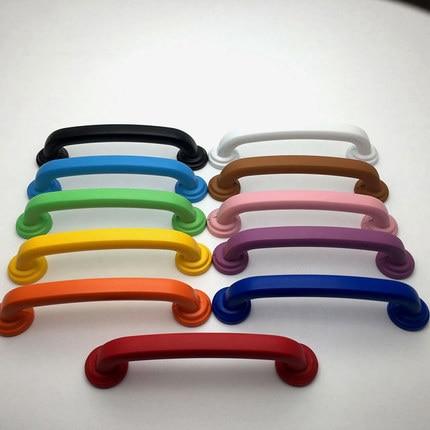 3.75 ''kleurrijke Knop Lade Trekt Kast Deurklink Dresser Handgrepen Kids Blauw Oranje Geel Rood Roze 96mm Meubels