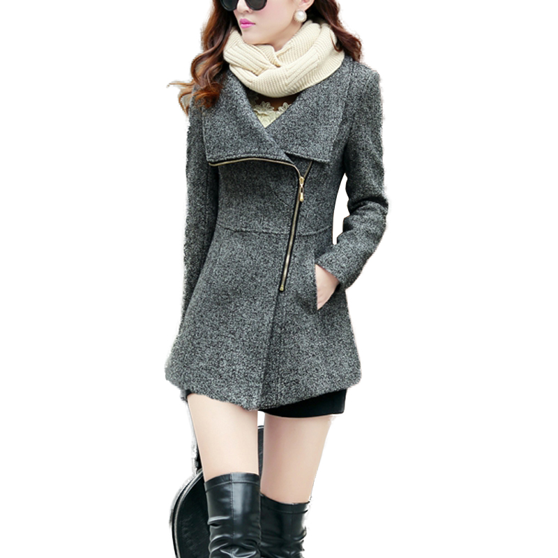 2017 nueva europa otoño invierno temperamento de las mujeres de lana chaquetas a