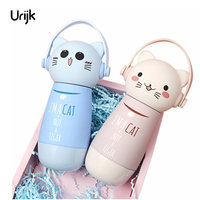 Urijk Cute Cat Thermoses Insulated Tumbler Stainless Steel Thermos Vacuum Flask Coffee Tea Bottles For Water