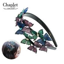 Chaplet 2016 High Quality Fashion Hair Jewelry Ten butterfly Hairband Hair Accessories Women Rhinestone Headband Free shipping