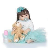 Nicery 22 дюймов 55 см Bebe Кукла реборн Жесткий Силиконовый мальчик девочка игрушка Reborn Baby Doll подарок для ребенка синий трикотажная юбка бурый мед