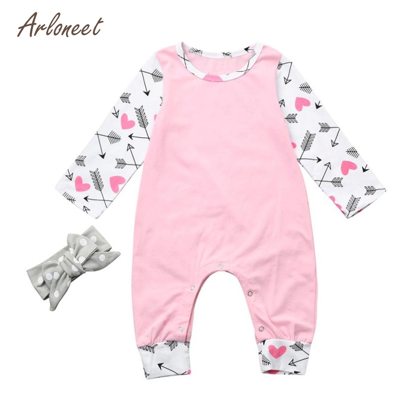 ARLONEET Baby Clothes Newborn Girls Boys Long Sleeve Heart Print Jumpsuit Clothes Romper Outfit Mar27