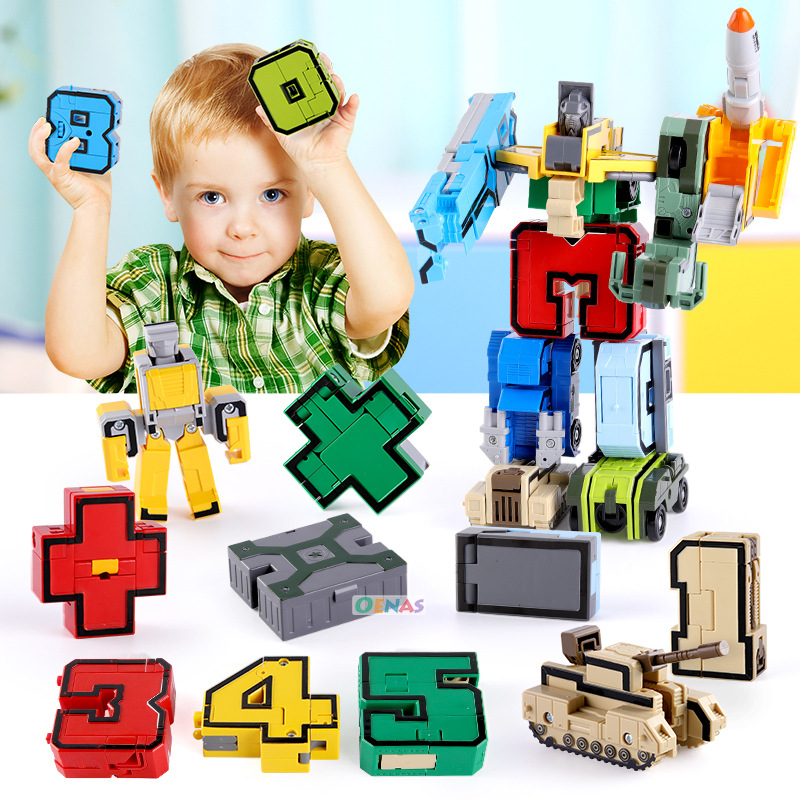 15in1 GUDI Educational Assemble Building Blocks Action Figure Robots Transformation Car Deform Number Letters Alphabet Math Toys