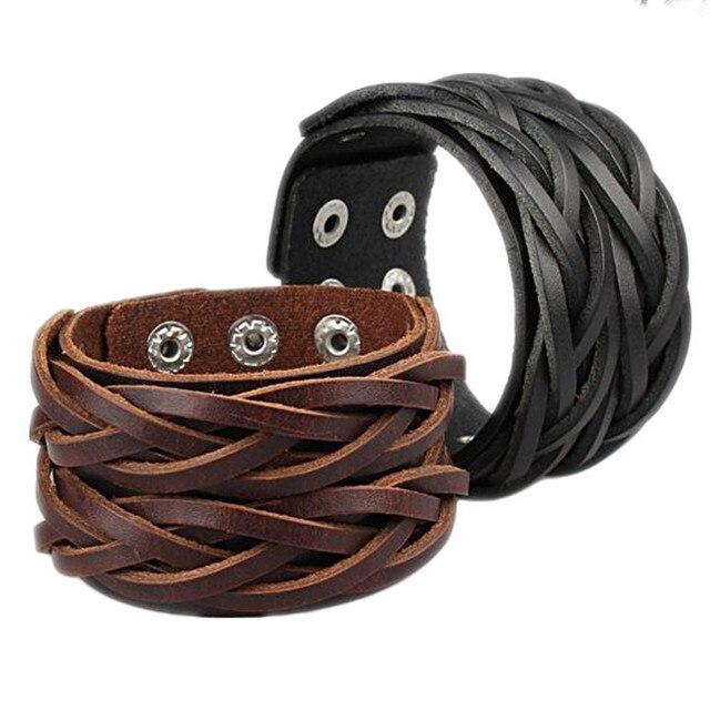 Fashion Black & Coffee Double Belt Leather Wrist Friendship Big Wide Cuff Bracelet Bangle for Men Buckle Vintage Punk Jewelry