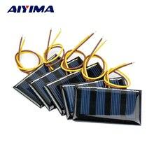 AIYIMA Mini Solar Panel sunpower Solar Cell 2V 60MA Polycrystalline  DIY Solar Support 1.2V Battery Charge 59*34MM 10pcs