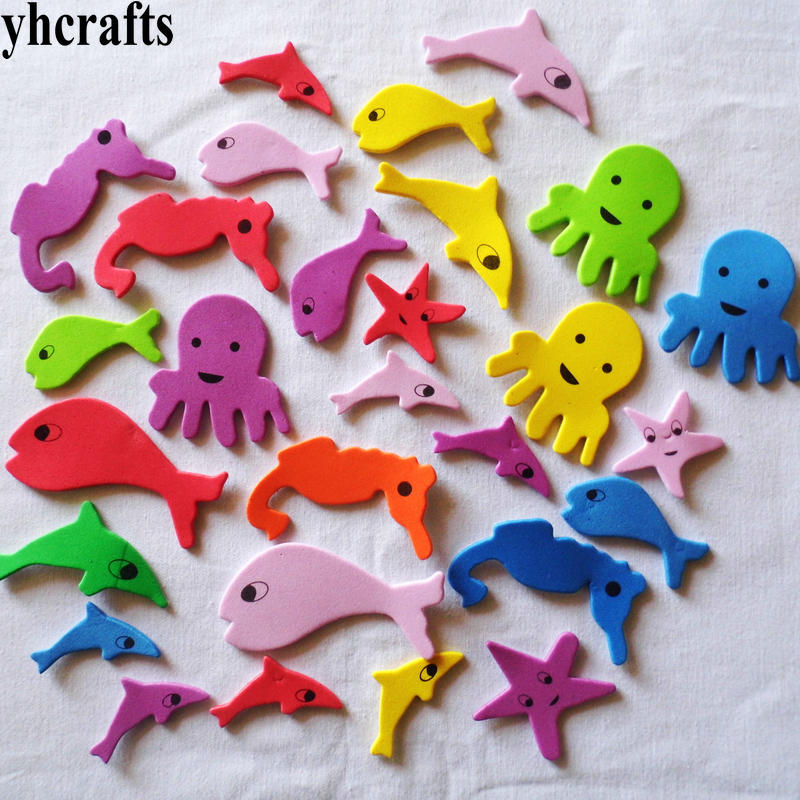 30PCS LOT Ocean animal foam stickers Scrapbooking kit Early learning educational toys Color animal learning Kids
