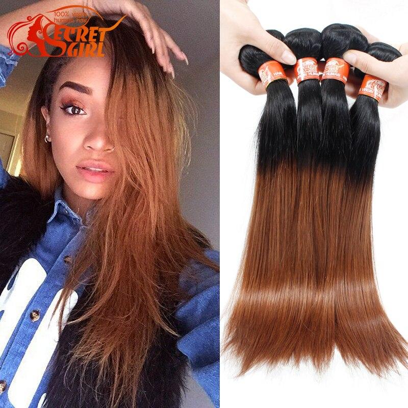 Rosa Brazilian Straight Hair 4 Bundles Ombre 1b 30 Human Hair