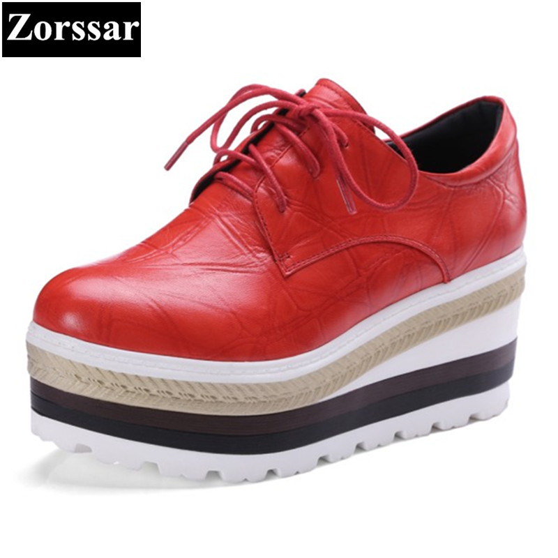 {Zorssar} 2017 NEW Genuine leather womens Casual platform High heels Pumps shoes Wedges height increasing women leisure shoes 2016 new women shoes spring womens platform genuine leather shoes pumps wedges female heels shoes sapatos femininos xj 056