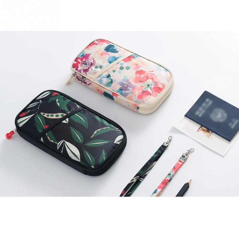 Fashion Passport Travel Wallet Passport Holder Full Closure Zipper Organiser Protector Cover Floral Bag Credit ID Card for Women(China)