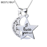 BESTLYBUY 2018 New women sexy necklace christmas gift moon star drop charm silver chocker choker silver 925 necklace