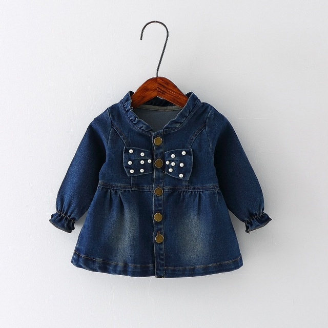 Fashion Autumn Kid's Children Baby Infants Bebe Girls Beaded Bow Jacket Outwear Washed Denim Jeans Princess Casacos Coats S3886