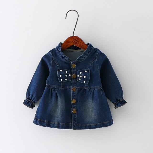 Moda Outono Crianças do Miúdo do Bebê Bebês Bebe Meninas Arco Frisado Jaqueta Outwear Denim Lavado Calça Jeans Princesa Casacos Casacos S3886