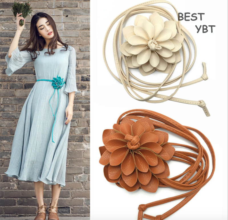 New Flowers Waist Chain Tassel Braid Decoration Elegant Dress Sweater Fine Ladies Waist Dress Exquisite Handmade Flower   Belt