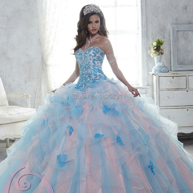 Two-Tone Ruffles Ball Vestido Vestidos Quinceanera com Apliques de Renda Beading Corpete Sweet16 Vestido vestido de quinceanera vestido 2016