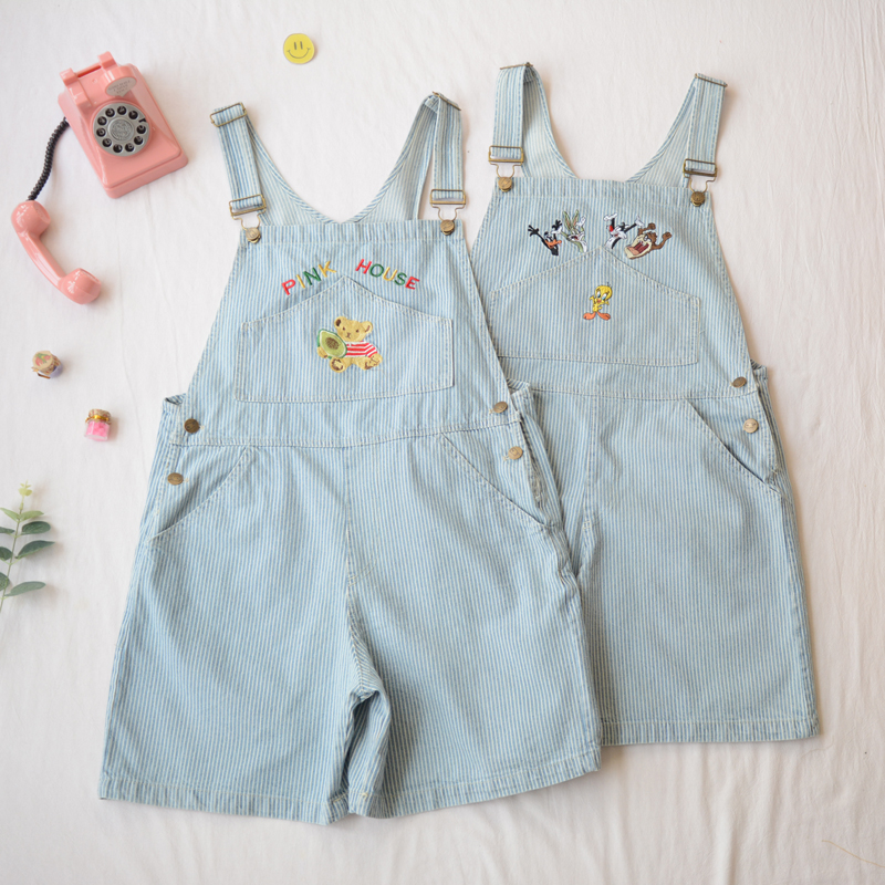 Preppy Style Harajuku Women's Cute Animal Embroidery Adjustable Stripe Overalls Shorts Kawaii Denim Suspender Trousers Summer