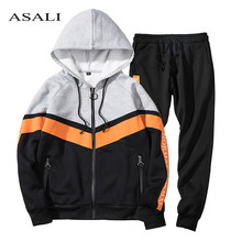 2 Piece Mens Tracksuits Autumn Winter Hooded Men Sportswear Set Male Patchwork Zipper Sweatshirt Jacket +Pant Track Suit Men Hot(China)