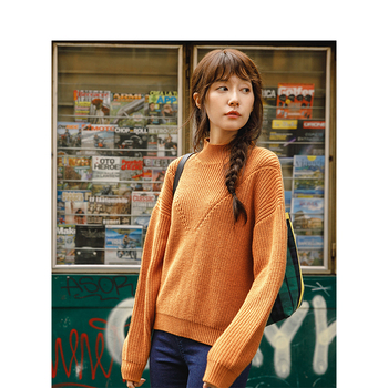 INMAN Spring Autumn Turtleneck Rotatory Cuff Cotton Elegant All Matched Solid Color Sweater Women