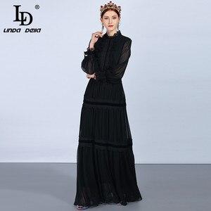 Image 2 - LD LINDA DELLA แฟชั่น Maxi ชุดผู้หญิงแขนยาวลูกไม้ Patchwork Ruffles VINTAGE Black Elegant PARTY DRESS