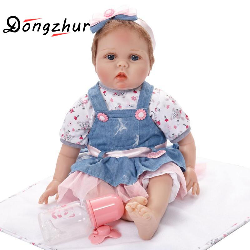 где купить Silicone Reborn Baby Doll kids Playmate Gift For Girls 22 Inch boneca reborn men Toys For Bouquets Doll Bebe Reborn Babies Dolls дешево