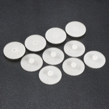 Uxcell 10Pcs 48102/44102/38102B Plastic White Gear with 48/44/38 Teeth Toy Accessories 2mm Hole Diameter for DIY Car Robot Motor