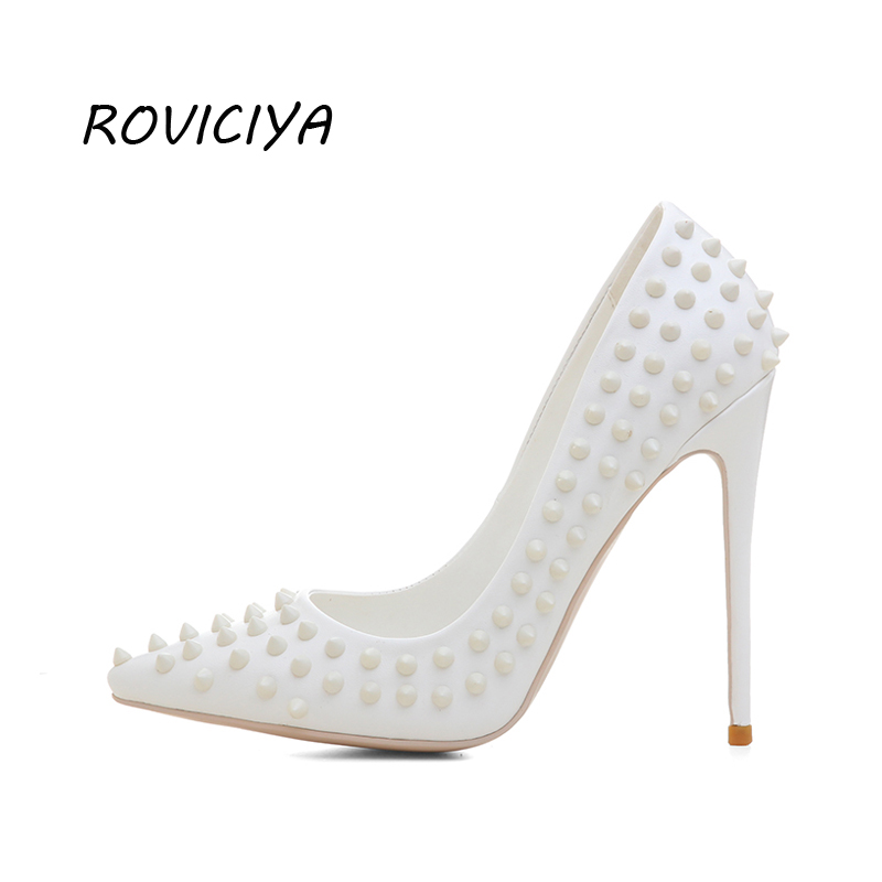 White Women High Heels Pumps with Rivet Classic Pointed Toe 12cm Stiletto Party Wedding Shoes plus size WJ04 ROVICIYA beango 2018 new fashion women high heels pointed toe striped pumps mixed colors rivet stiletto party wedding shoes woman