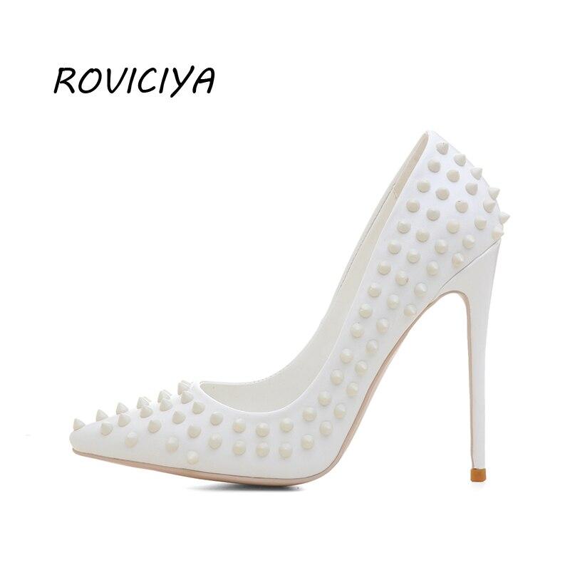 Puntera Clásica Zapatos Mujer Md026 Alto Roviciya De Talla Remache Fiesta Stiletto Boda Grande Para Cm 12 Tacón Blancos Con m0nwO8vN