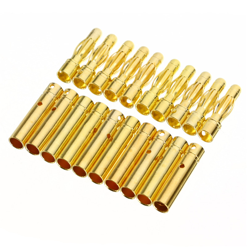 цена на Mayitr 10Pair 4mm RC Battery Gold-plated Bullet Banana Plug High Quality Male Female Bullet Banana Connector