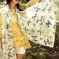 Lenço Das Mulheres da moda 2014 venda quente das mulheres Chiffon lenço de seda Praia Protetor Solar cachecol xale borboleta Frete Grátis