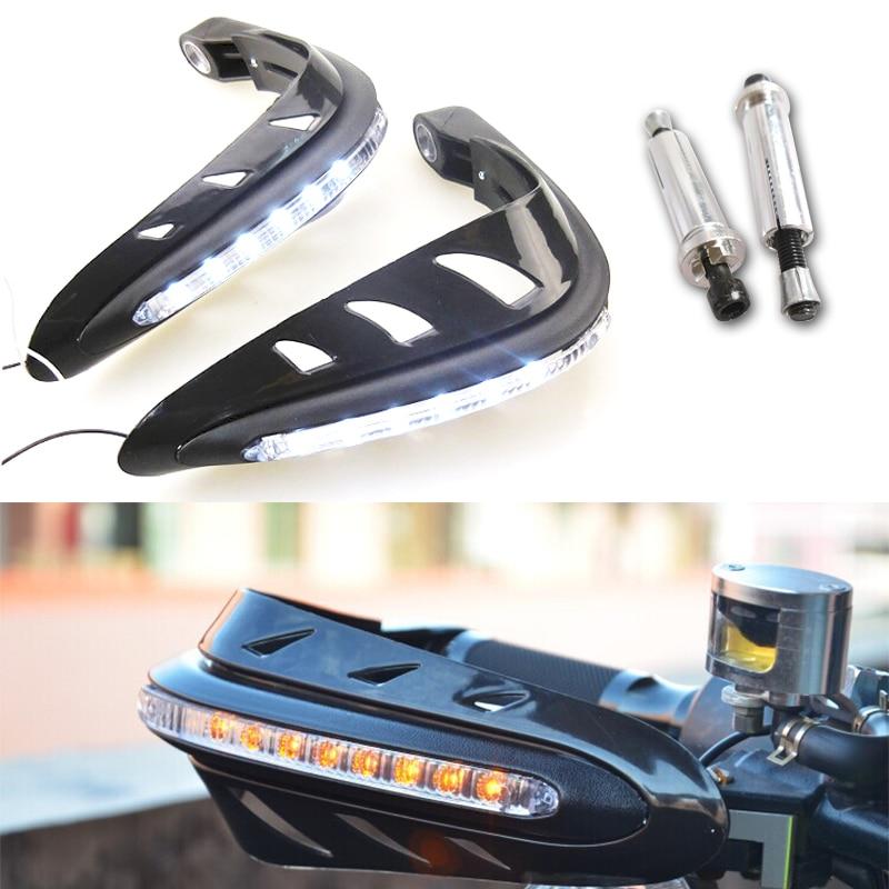 1Pair DC 12V Motorcycle Warning Signal Light Hand Guards 22mm Handlebar Protector for SR400 CB400SS Harley