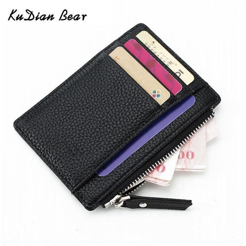 KUDIAN BEAR Simple Vintage Men Wallet Credit Card Holder Business Brand Male Mini Wallets Purse Billetera Hombre BID258 PM49