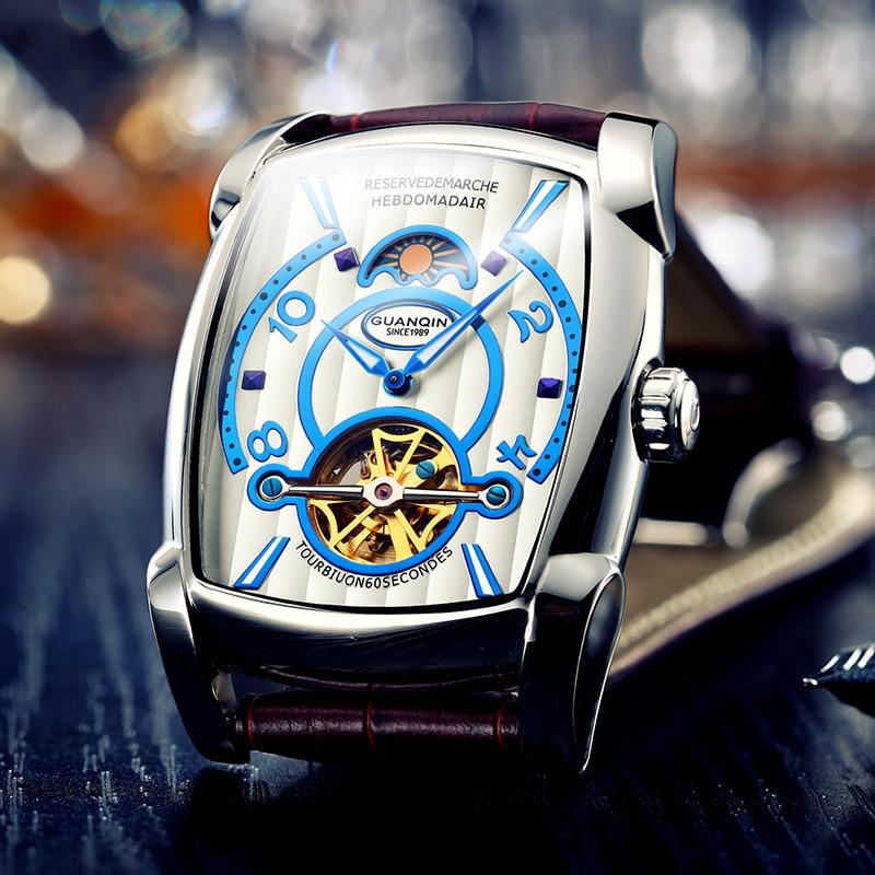 GUANQIN Rechthoekige Luxe Tourbillon heren Mechanische Horloge 3Bar Waterdichte Lederen Automatische Horloge Mannen Erkek Kol Saati-in Mechanische Horloges van Horloges op  Groep 2