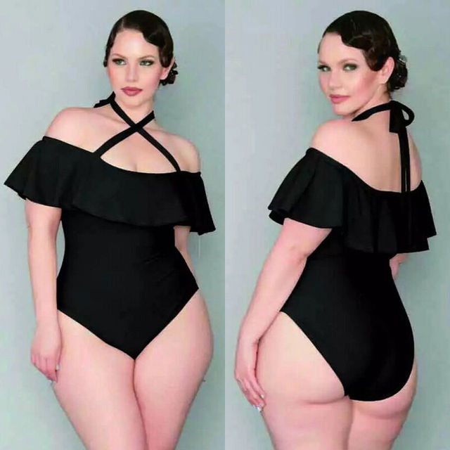 1c523006cf6b0 Big Size Black Slash Neck Ruffle Swim Suit Plus Size Women One Piece  Swimsuit Monokini Sports Wear Swimwear Bandage Bathing Suit