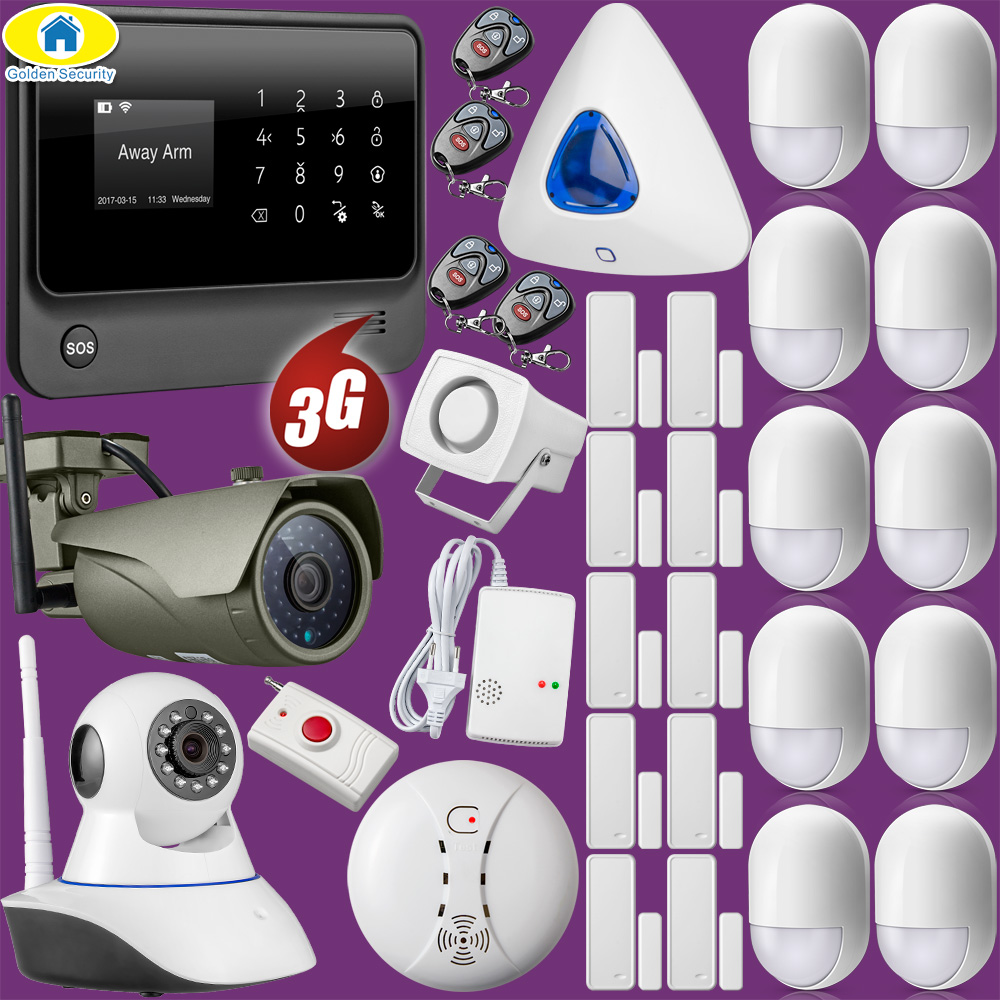 Full Kit G90B Plus+ 3G GSM Wifi APP Control Home Security Alarm System Fire Alarm 1080P WiFi IP Camera golden security g90b 3g wcdma gsm wifi app control home security alarm system fire detector vibration sensor outdoor ip camera